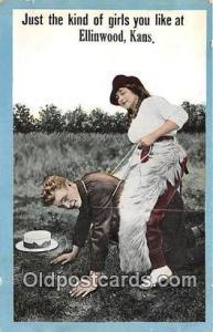 Couples Romance Vintage Postcard Ellinwood, Kansas, USA Couples Romance Vinta...