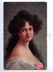 149324 Portrait BELLE w/ Roses by SACH vintage PC
