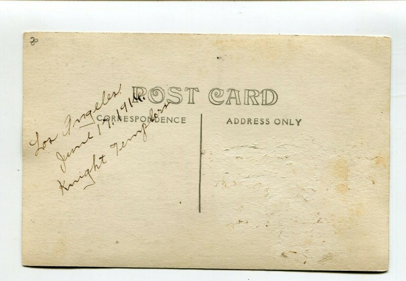 Postcard Los Angeles CA KNIGHTS TEMPLAR 1916 Electric Parade Forest Glade RPPC