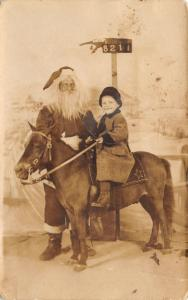 Chicago Christmas~Santa Claus & Little Boy on Pony~c1915 Studio Real Photo~RPPC