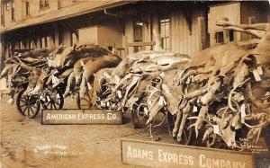 G5/ Mackinaw City Michigan RPPC Postcard Railroad Depot Deer Hunting Slaughter
