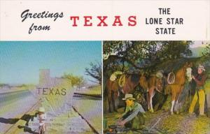 Texas Greetings From The Lone Star State Showing Texas Entrance Marker