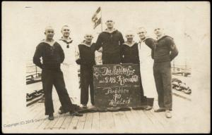 Germany WWI Navy Ship SMS Rhienland Sailors  Postcard RPPC 75569