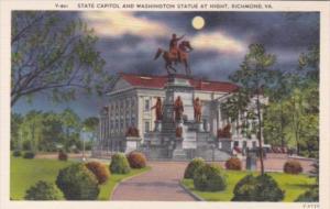 Virginia Richmond State Capitol Building & Washington Statue At Night