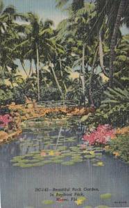 Florida Miami Beautiful Rock Gardens In Bayfront Park 1951 Curteich