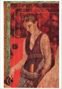 Pompei Villa Dei Misteri Una Giovane Accolita Art Repro Unused Postcard D50