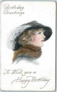 c1910s BIRTHDAY Greetings Postcard Pretty Lady / Feather Hat Fashion UNUSED
