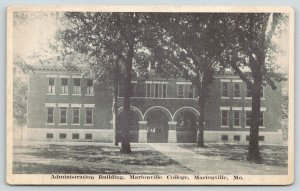 Marionville Missouri~College Administration Building~1920s B&W Postcard