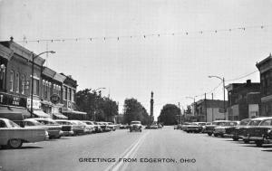 Edgerton Ohio~Light Bulbs Over Main Street~Pepsi Caps Market~Bar~1950s Cars B&W