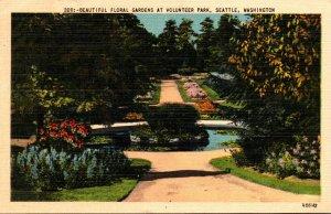 Washington Seattle Beautiful Floral Gardens At Volunteer Park 1948