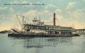 Excursion Boat On The Missouri  Ferry Boats, Ship, Ships, Postcard Post Cards...