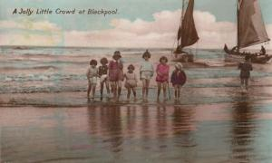A Little Crowd at Blackpool Sailing Boats Vintage 1930s Postcard