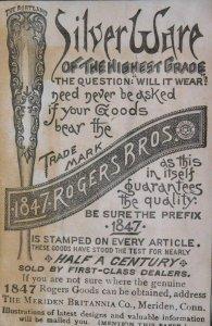 1870s-80s 1847 Rogers Bros Silveware, Meriden, CT Victorian Print Ad L14
