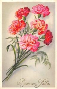 Bonne Fete! Happy Birthday! Carnation Oeillets Fleurs Bouquet (Belgique)