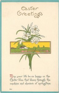 Easter~ART DECO~Lilies Hang Over Country Farm Scene~Yellow Sky~Pink Path~Emboss