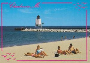 Light House and Sandy Beach - at Charlevoix MI, Michigan