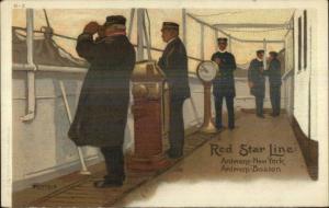 Red Star Line Steamship Captain Pilot House? Cassiers H-2 Postcard c1905