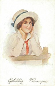 Happy New Year Art Nouveau Lady 04.87