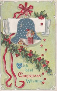 CHRISTMAS, 1900-1910s; Santa Claus Going Down A Chimney, Holly