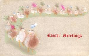 Easter~Chick Parade on Green Path~Blue Pink Brown White Airbrushed Postcard~1909