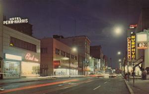 HARRISBURG, Pennsylvania, 50-60s ; N. on Market Street at Night