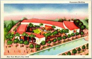 1939 NEW YORK WORLD'S FAIR Linen Postcard Consumers Building Artist's View