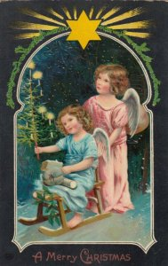 CHRISTMAS , 2 Angels on sled , 1914