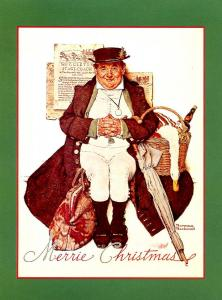 Norman Rockwell (Repro) - Christmas: Man with Goose  Size: 6.625 X 4.625