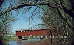 Parker Bridge, Wyandot Co, OH USA Covered Bridge Postcard Post Card Old Vinta...