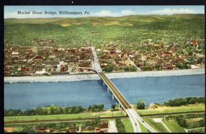 Pennsylvania Market Street Bridge WILLIAMSPORT over Susquehanna River LINEN