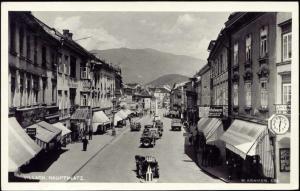 austria, VILLACH BELJAK, Carinthia, Hauptplatz, Car (1956) RPPC