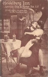 San Francisco California Heidelberg Inn Ad Couple Kissing Postcard J46243