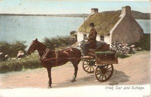Irish Car and cottage. Horse Old vintage, antique nEnglish postcard
