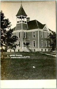 1910s MORRISONVILLE, Wisconsin RPPC Photo Postcard GRADE SCHOOL Building View