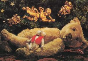 Teddy Bear Funeral RIP Golden Angels of Death Teddies Postcard