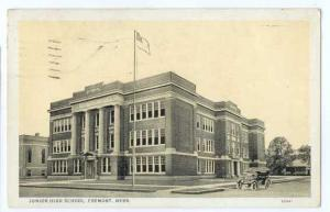 Junior High School in Fremont Nebraska NE 1933 White Border