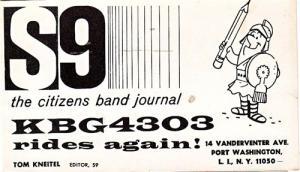 CB QSL KBG4303, Tom Kneitel, Port Washington NY