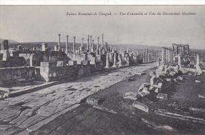 Tunisia Ruines Romaines de Timgad Vue d'ensemble et Voie du Decumanus Maximus