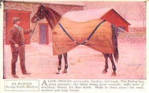 Horse Blanket Advertising Old Vintage Antique Post Card Buster Burlap Stable ...