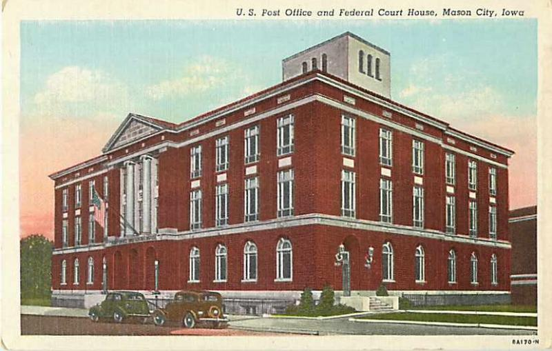 Post Office and Federal Court House Mason City Iowa IA Linen