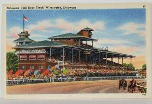 Delaware Park Race Track Wilmington DE Postcard S3
