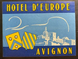 Mint Air Baggage Label Tag Hotel Of Europe Avignon France