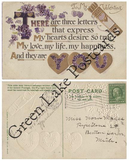 1910 To My Valentine, There Are Three Letters That Express.