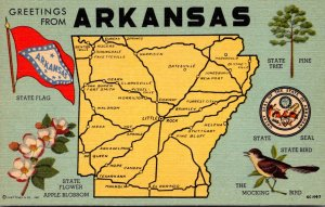 Arkansas Greetings With Map State Flag Flower Bird Tree and State Seal Curteich