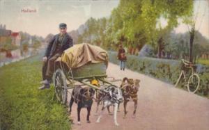 Netherlands Hondenkar Man With Dog Cart