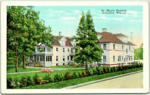 Columbus, Wisconsin Postcard ST. MARY'S HOSPITAL Building / Street View c1930s