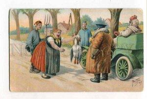 285623 Arth. THIELE Man in CAR & Dead GOOSE Vintage COMIC postcard
