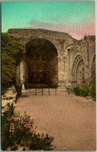 MISSION SAN JUAN CAPISTRANO Calif Postcard Ruins Old Stone Church Hand-Colored