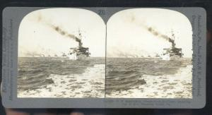 REAL PHOTO UNITES STATES US NAVY BATTLESHIP USS CONNECTICUT STEREOVIEW CARD