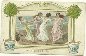 5 Art Nouveau Women Postcards , 1900-10s